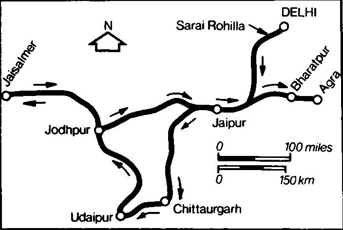 Map of Palace on Wheels route