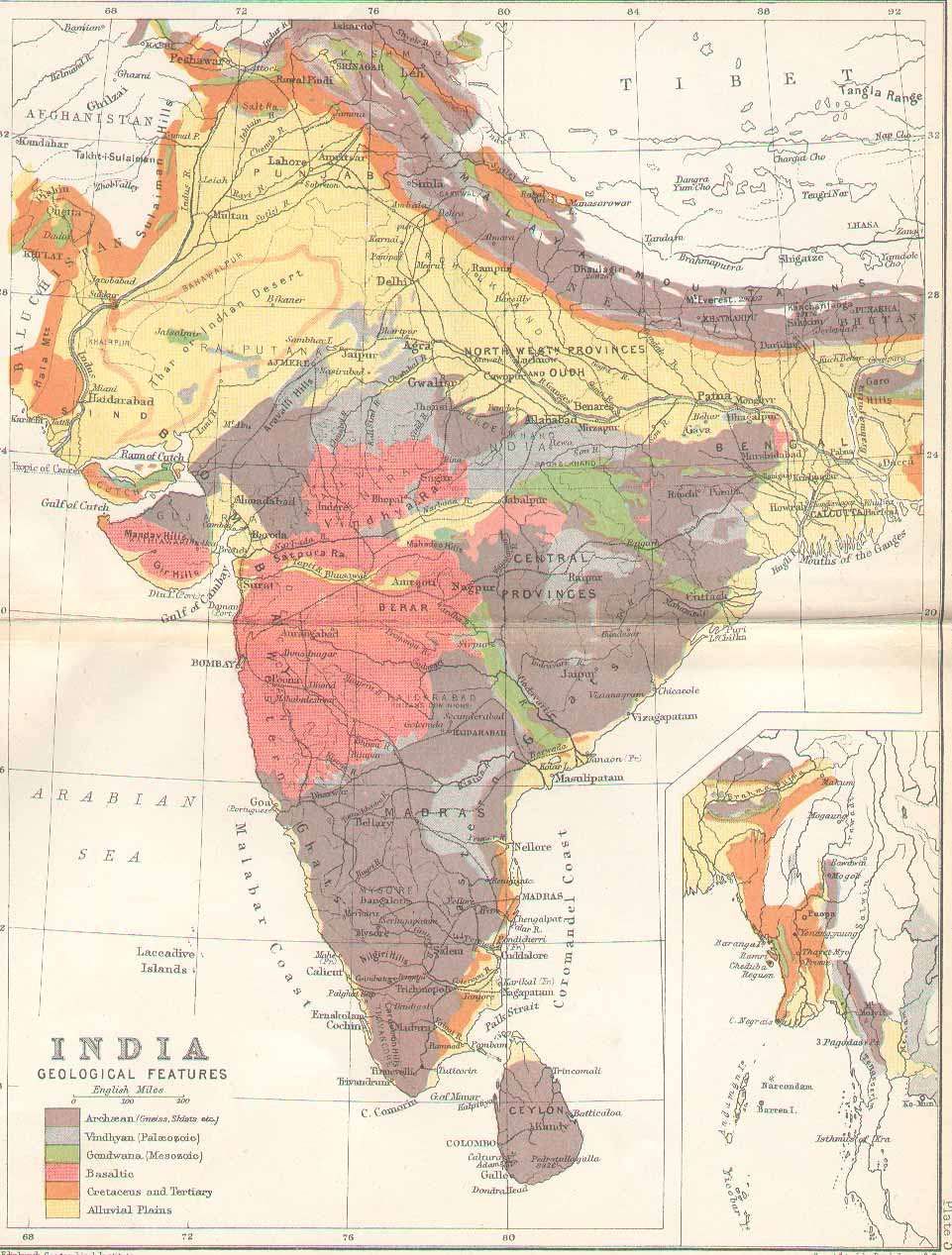 IRFCA Indian Railways FAQ Physical Map of India 1893