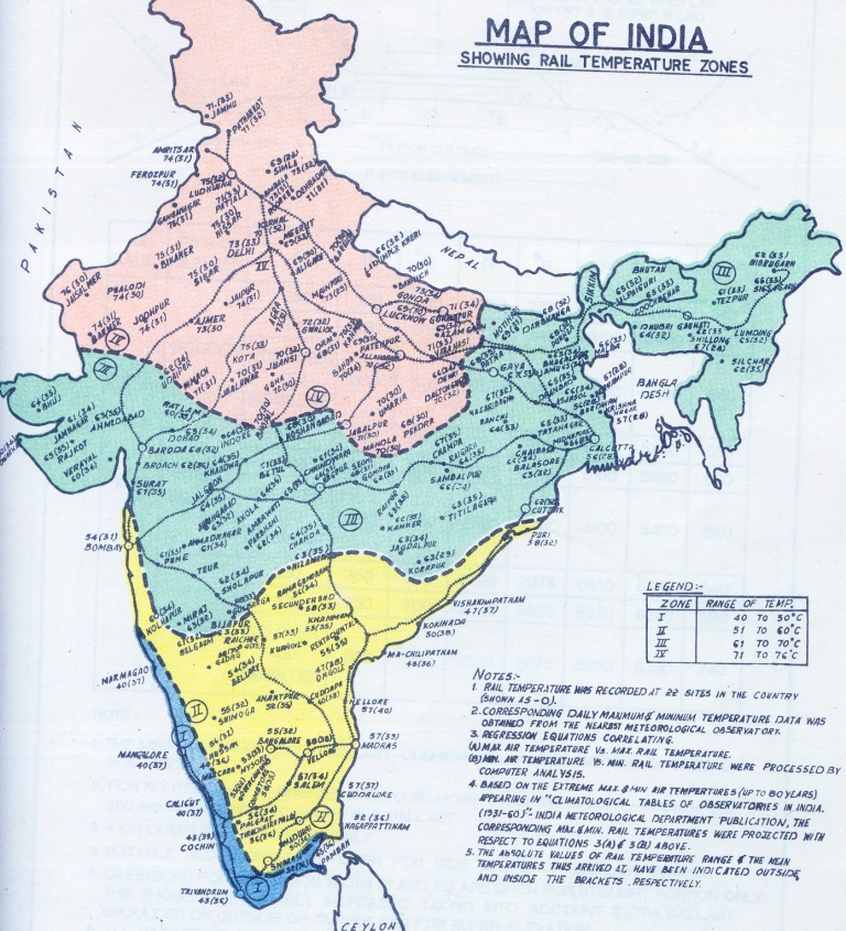 IRFCA Indian Railways FAQ Rail Temperature Zone Map